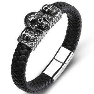 VTG Style skull Woven Black Bracelet 💀